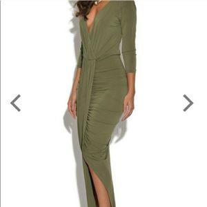 Plunge Front Drape Dress